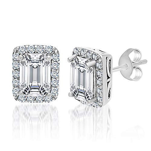 - MIA SARINE 1-3/8 Cttw Emerald Cut Cubic Zirconia Stud Earrings for Women in Rhodium Plated 925 Sterling Silver (White)