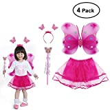 LUOEM Princess Fairy Costume Butterfly Costumes Outfit Set with Wings,Tutu,Wand and Headband for Girls Dress Up ,Ages 3-6,4pcs (Rose Red)
