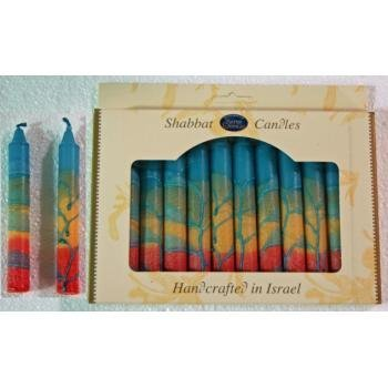 Judaica Safed Harmony Teal 12 Pack Shabbat Sabbath Candles Made in Israel (Candles Safed Pillar)