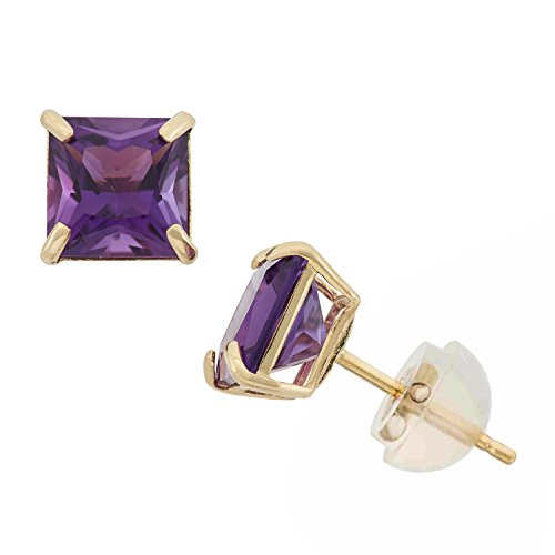 - Amethyst Princess Cut Stud Earrings in 10K Yellow Gold, 6mm, Comfort Fit