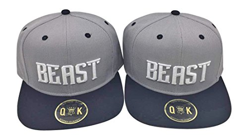 Matching Snapbacks/Baseball CAPS for Couples (King/Queen, Beauty/Beast) (Beauty/Beast | Black/Grey) by QUEENITED KINGDOM