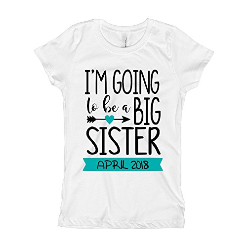 Girls' I'm Going to be a Big Sister Shirt | Custom Date in Banner (7/8, White/Teal)