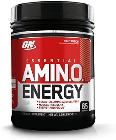 Optimum Nutrition Amino Energy – Pre Workout with Green Tea, BCAA, Amino Acids, Keto Friendly, Green Coffee Extract, Energy Powder – Fruit Fusion, 65 Servings