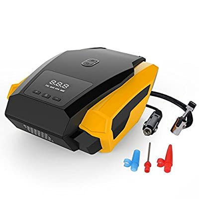 SPEAUTO Tire Inflator, 12V 150 PSI Auto Electric Digital Tire Inflator with Preset Pressure and Emergency Flashlight,3 High-air Flow Nozzles Fits for Car, Bike, Motorcycle,Basketballs