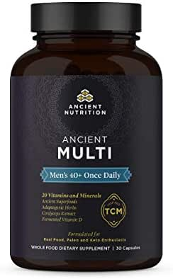 Ancient Nutrition, Ancient Multi Men's 40+ Once Daily - 20 Vitamins & Minerals, Adaptogenic Herbs, Cordyceps Extract, Paleo & Keto Friendly, 30 Capsules