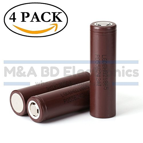 LG INR18650 HG2 High Drain Li-ion 3.7V 20A 3000mAh Rechargeable Flat Top Battery, (4 Pcs)