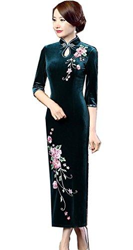 22aceae7c6fd3 (上海物語) Shanghai Story 中袖 花柄 孔雀刺繍 ベルベット チャイナドレス レディース