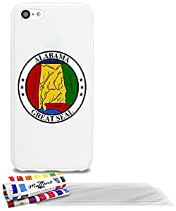 "Carcasa Flexible Ultra-Slim APPLE IPHONE 5C de exclusivo motivo [Sello Alabama] [Blanca] de MUZZANO  + 3 Pelliculas de Pantalla ""UltraClear"" + ESTILETE y PAÑO MUZZANO REGALADOS - La Protección Antigolpes ULTIMA, ELEGANTE Y DURADERA para su APPLE IPHONE 5C"