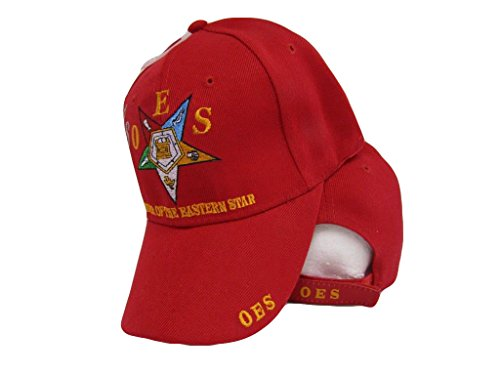 AES oes Order Of The Eastern Star Mason Freemason Red Embroidered Cap Hat