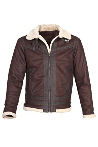 Collar Zip Front Leather Jacket - 1