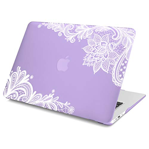 Batianda(TM) Lace Lovely Print Rubberized Hard Case Cover for MacBook Air 11 11.6 (A1370 and A1465) (Violet)