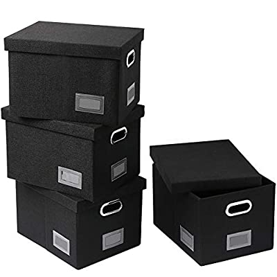 SUPERJARE Collapsible File Box, Storage Office Box Organizer with Handles and Removable Lid for Letter/Legal, Linen Fabric