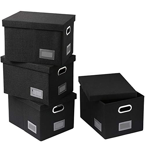 Superjare Collapsible File Box, Pack of 4, Storage Office Box Organizer with 60 lbs Weight Capacity, Handles and Removable Lid for Letter/Legal, Black Linen Fabric