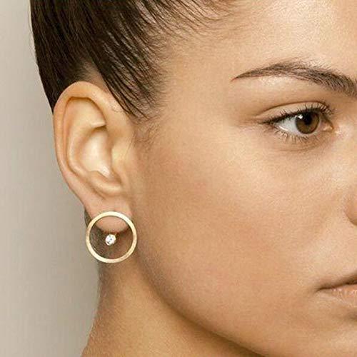 Madame Jewelry Minimalist Gold Crystal Bead Circle Stud Earrings Double Side Ear Jacket Jewelry