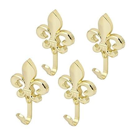 Escudo eDealMax Paraguas Bolsa Gancho sola flor Forma 4pcs tono de metal suspensión de la pared del oro - - Amazon.com