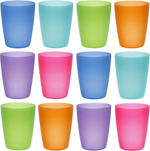 gobelets enfants cocktail tasses ML Lot de 12 verres en plastique acrylique de couleur sans BPA 250 ml tasses vaisselle pour eau f/ête