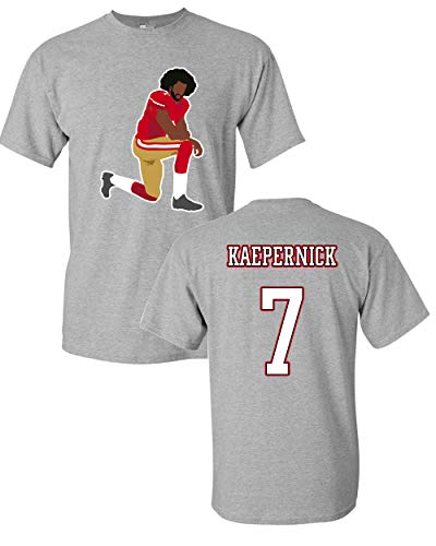 Beach Open Kaepernick 7 Kneel Stand Football Protest Kap Front & Back DT Adult T-Shirt Tee (Large, Sports Gray)