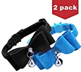 BINGPET 2Pcs Breakaway Bowtie Cat Collar with Bell Blue & Black