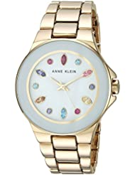 Anne Klein Womens AK/2858WMGB Multi-Colored Swarovski Crystal Accented Gold-Tone Bracelet Watch