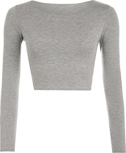 New Girl donna tinta unita Full a maniche lunghe rotonda girocollo Slim Fit skinny mini crop top corto maglietta taglia S//M m//L