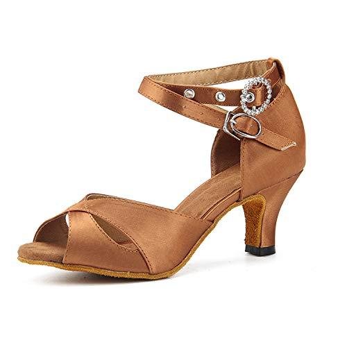check out 57ec3 859d2 Women s 5cm Satin Danse 7 De Chaussures Talons Hauts Brown heel Tango Latine  Mou Salsa Tête ...