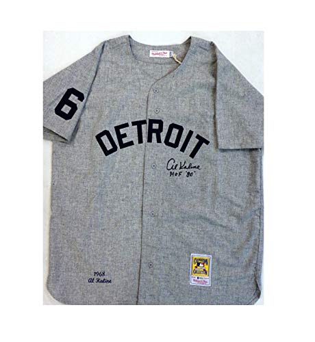 Al Kaline Autographed Detroit Tigers 1968 Road Mitchell & Ness Jersey with