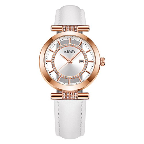 Womens Quartz Watch OUBAOER Crystal Accented Leather Band Watch for Women Transparent Watch with Date Lady Wristwatches for Business(Rose White) by OUBAOER