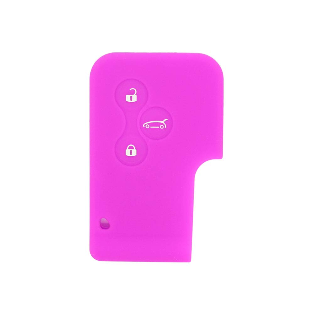 BROVACS Silicone Cover Protector Case Skin Jacket fit for RENAULT 3 Button Smart Card Key Remote Fob CV2351 Pink