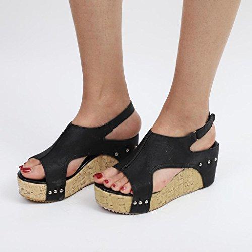 sexy Chanclas de sandalias mujer verano Sandalias flip de Sandalias femeninas Mujer Sandalias de RETUROM Verano pendiente para ocasionales Negro de Rome cu a Sandalias qw4IvY1p