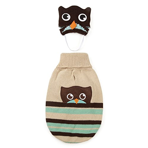 Zack & Zoey Piggy Back Pals Sweater and Hat Set for Dogs, 12'' Small, Owl by Zack & Zoey