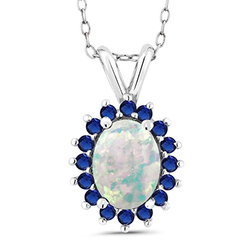 Gem Stone King 1.37 Ct Oval Cabochon White Simulated Opal Blue Simulated Sapphire 14K White Gold Pendant