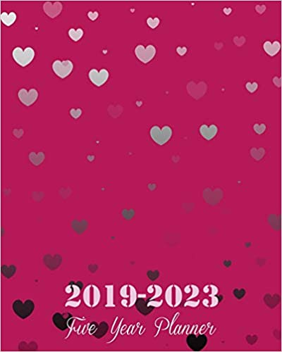 """Jennie Blossom - 2019-2023 Five Year Planner: Pink Heart Cover, 8"""" X 10"""" Five Year 2019-2023 Calendar Planner, Monthly Calendar Schedule Organizer (60 Months Calendar Planner) With Holidays And Inspirational Quotes"""