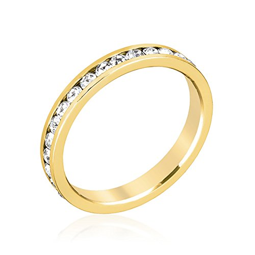 J Goodin Women Youth Trendy Fashion Jewelry Stylish Stackables Clear Crystal Gold Ring Size 7 from JGOODIN