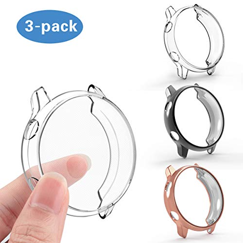 Compatible Samsung Galaxy Watch Active Screen Protector Case Cover,YiJYi Ultra Slim Soft Full Coverage Bumper[Sractch-Proof] Protection for Samsung Galaxy Watch Active (3 Pack-Clear+Black+Rose Gold)