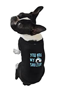 Ruff Ruff and Meow Dog Tank Top, You Are My Shelter, Black, Large