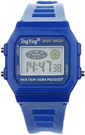 Sannysis Fashion Boy Girl Electronic LCD Digital Round Rubber Sport Wrist Watch Blue