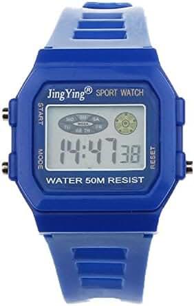 Sannysis Fashion Boy Girl Electronic LCD Digital Round Rubber Sport Wrist Watch Blue