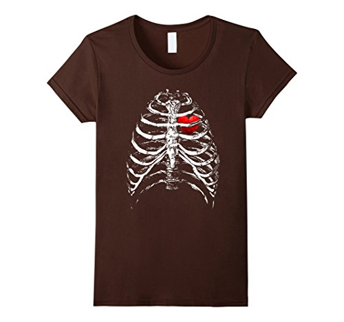 Womens Skeleton Xray Rib Cage Bones Heart - Black Halloween T-Shirt XL (All Black Halloween Contacts)