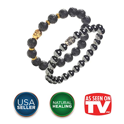 - Earth Therapy Buddha Root Chakra Bracelet Set - Gold Plated Volcanic Lava and Hematite Healing Bracelets - Adjustable - for Men, Women and Yogis - Gift Set of 2