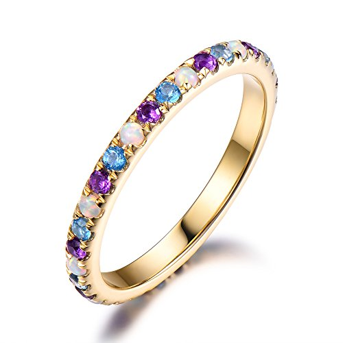 925 Sterling Silver Opal Amethyst Blue Topaz Yellow Gold Plated Full Eternity Wedding Band Stacking Ring by Milejewel Wedding Band