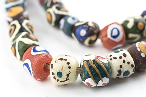 Mixed Krobo Powder Glass Beads (Round) - Full Strand of Glass Beads - The Bead Chest - Old Venetian Trade Beads