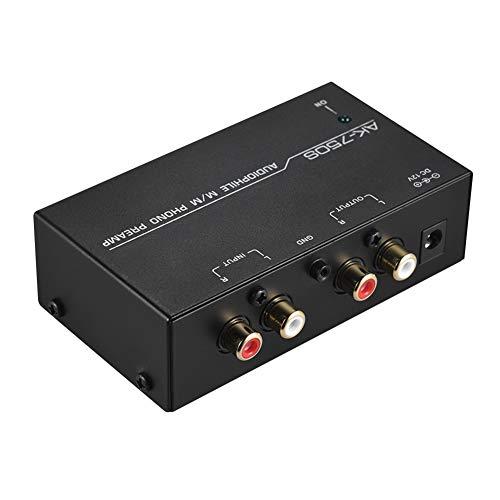 Phono-voorversterker, instelbaar volume, thuismetalen, voorversterker, stereo, zwart, geluidsarm, met niveaubediening…