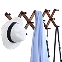OROPY Wooden Expandable Coat Rack Wall Mounted Multi-Purpose Closet Hook for Door and Wall