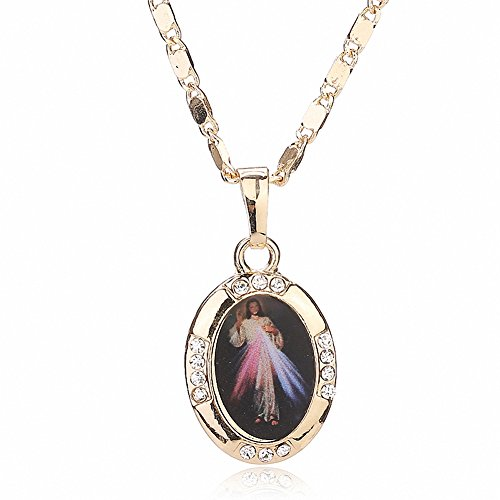 BiLiBiLi 18K Gold Plated Crystal Vintage Oval Christian Jesus Christ Saint Virgin Mary Pendant Necklace (Crystal Christian Necklace)