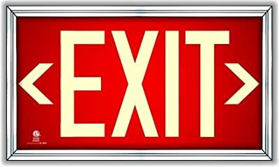 Photoluminescent Exit Sign Red - Framed Flat Wall Mount (Includes Set of Removable Arrows) UL 924/IBC 2012/NFPA 101 2012