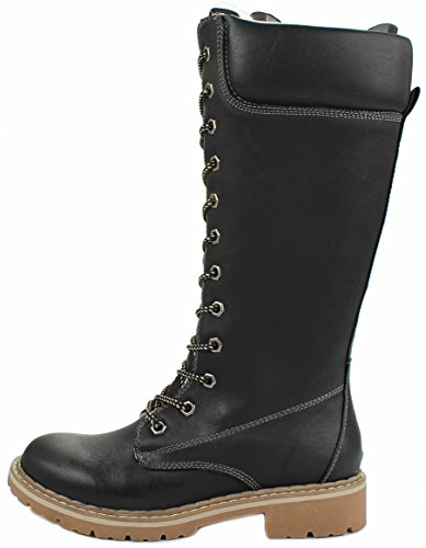 Forever Broadway12 Lace Up Fur-lined Top Mid Calf Military Combat Tall Boots Black VUyzYnH