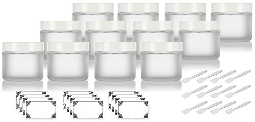 Frosted Clear Glass Straight Sided Jars with White Foam Lined Lids - 2 oz (12 Pack) + Spatulas and Labels