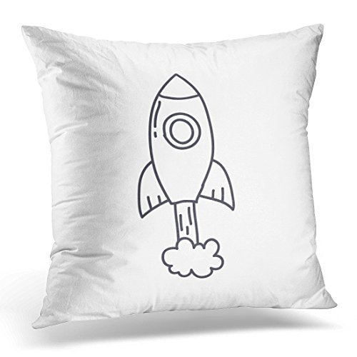 Icon Rockets - UPOOS Throw Pillow Cover Rocketship Doodle Icon Rocket Sketch Speed Decorative Pillow Case Home Decor Square 18x18 Inches Pillowcase