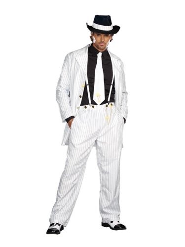 Dreamgirl Men's Zoot Suit Riot Costume, White/Black, Medium (Great Gatsby Costumes For Men)