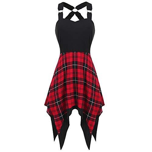 (KCatsy Asymmetrical Sweetheart Neck Knee-Length Tartan Print Insert Asymmetrical Dress Red)